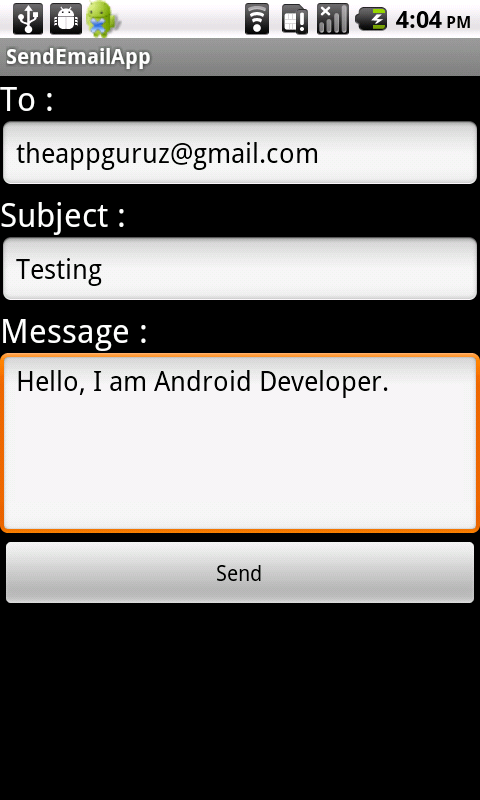 android send email using inbuilt app tutorial