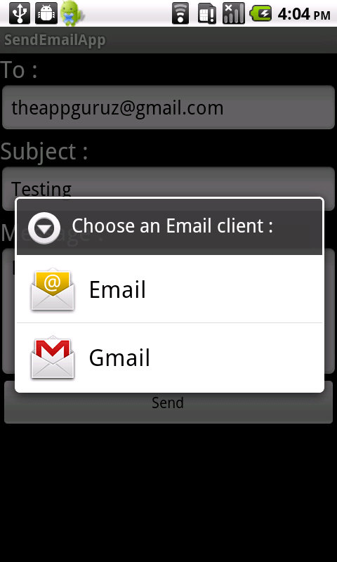 android send email using inbuilt app demo
