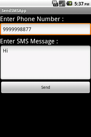 Send SMS Using SMS Manager