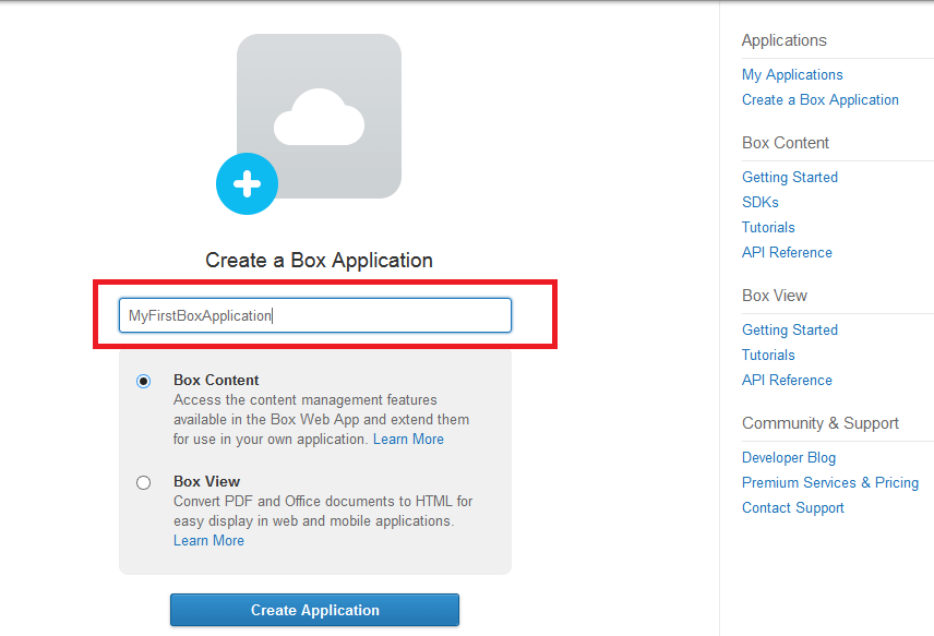 Create Box Application