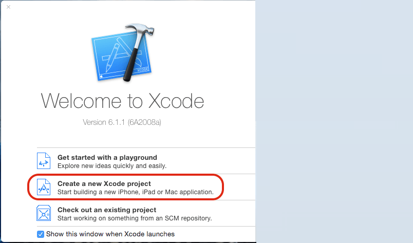 create new xcode project