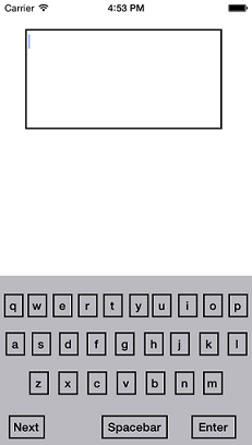 ios simulator screen shot for custom keyboard