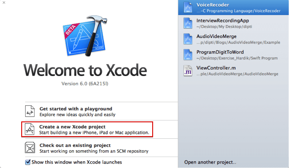 xcode main screen