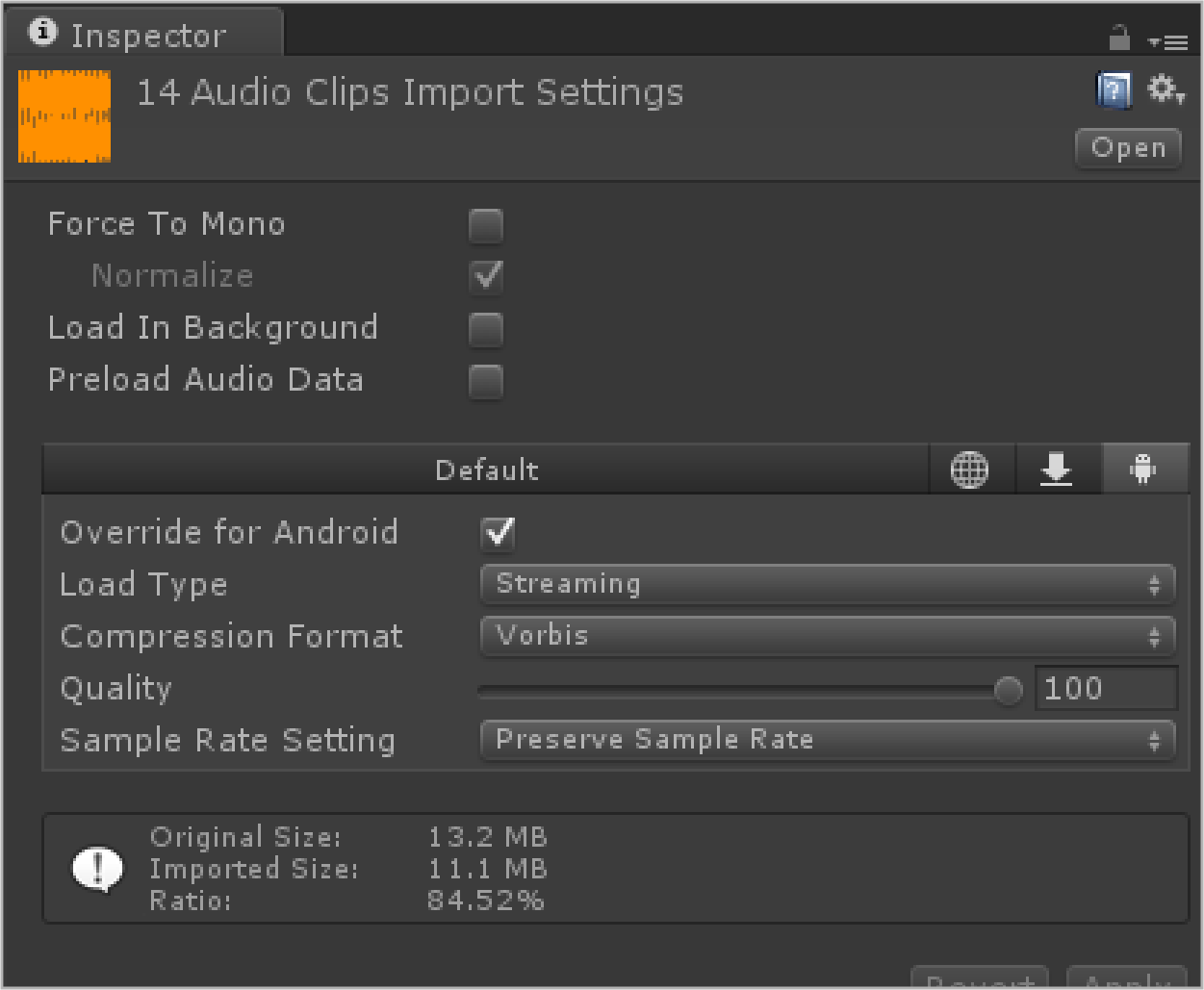 Audio Clip Settings