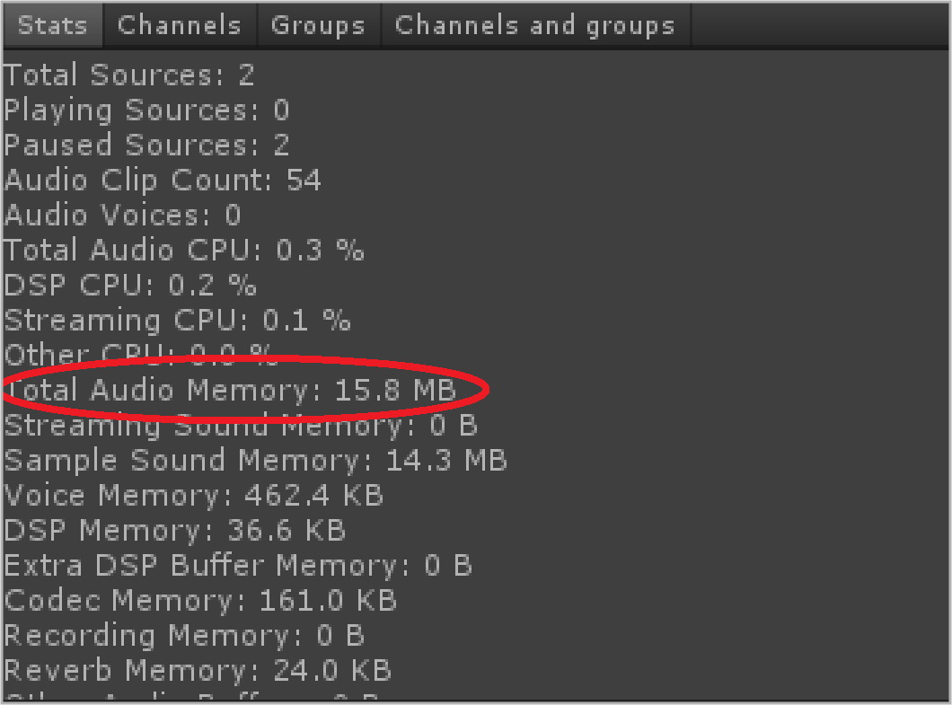 Audio Memory Used 15.8