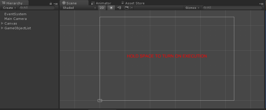 Hierarchy to Set up scene in Unity
