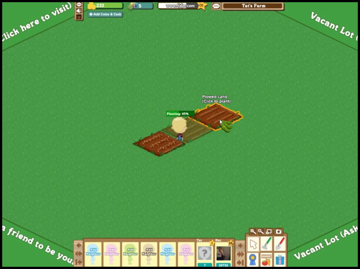 Planting in Farmville Game