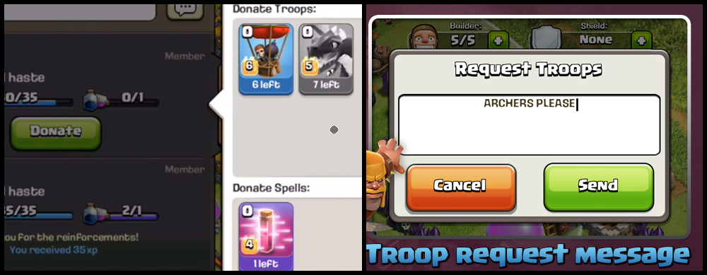 Donate or Share Troops In Clash of Clans