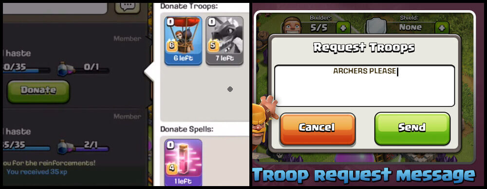 donate share troops in clash of clans