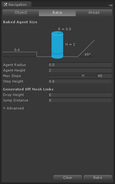 Navigation window Bake Tab