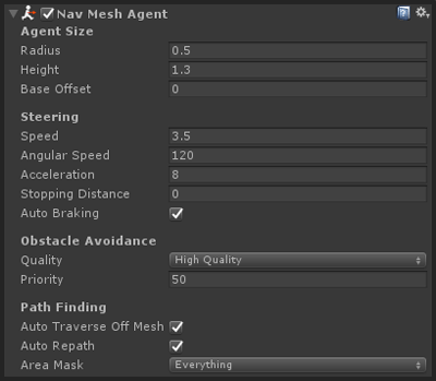 NavMesh agent component