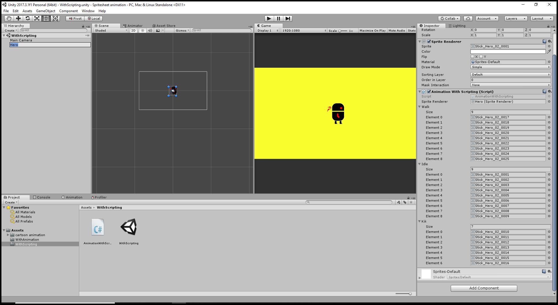 By scripting scene setup in Sprite Sheet Animation