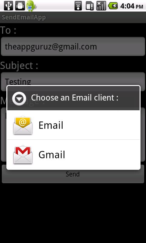 android send email using inbuilt app demo