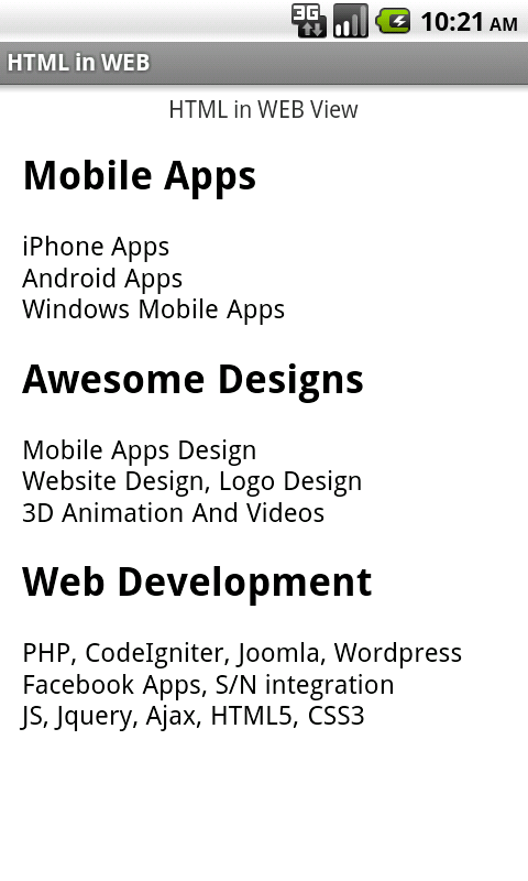 Html in Webview