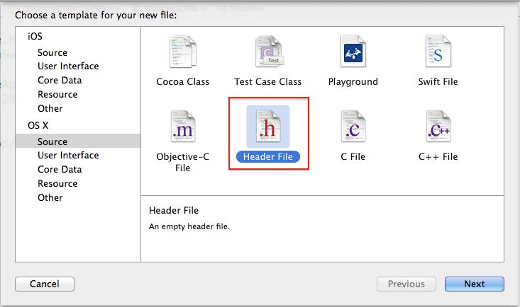 choose header file