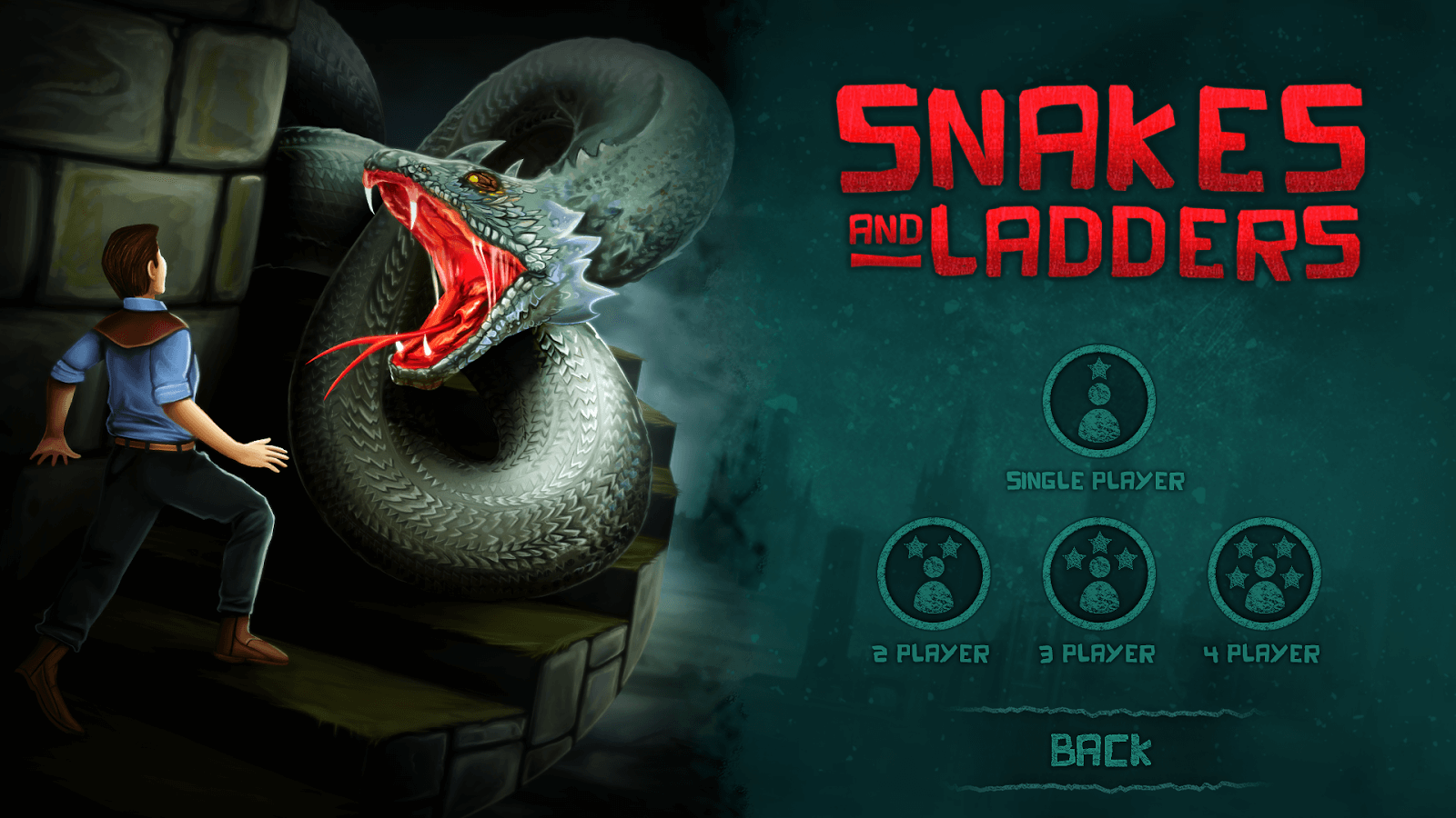 Snakes and Ladders 3D mobile game home screen