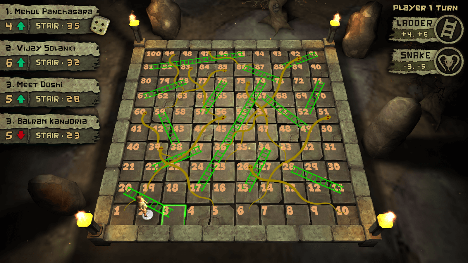 Snakes and Ladders 3D mobile game board screen