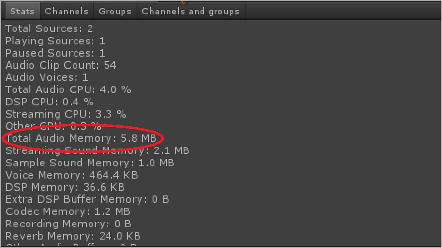 Audio Memory Used 5.8 MB