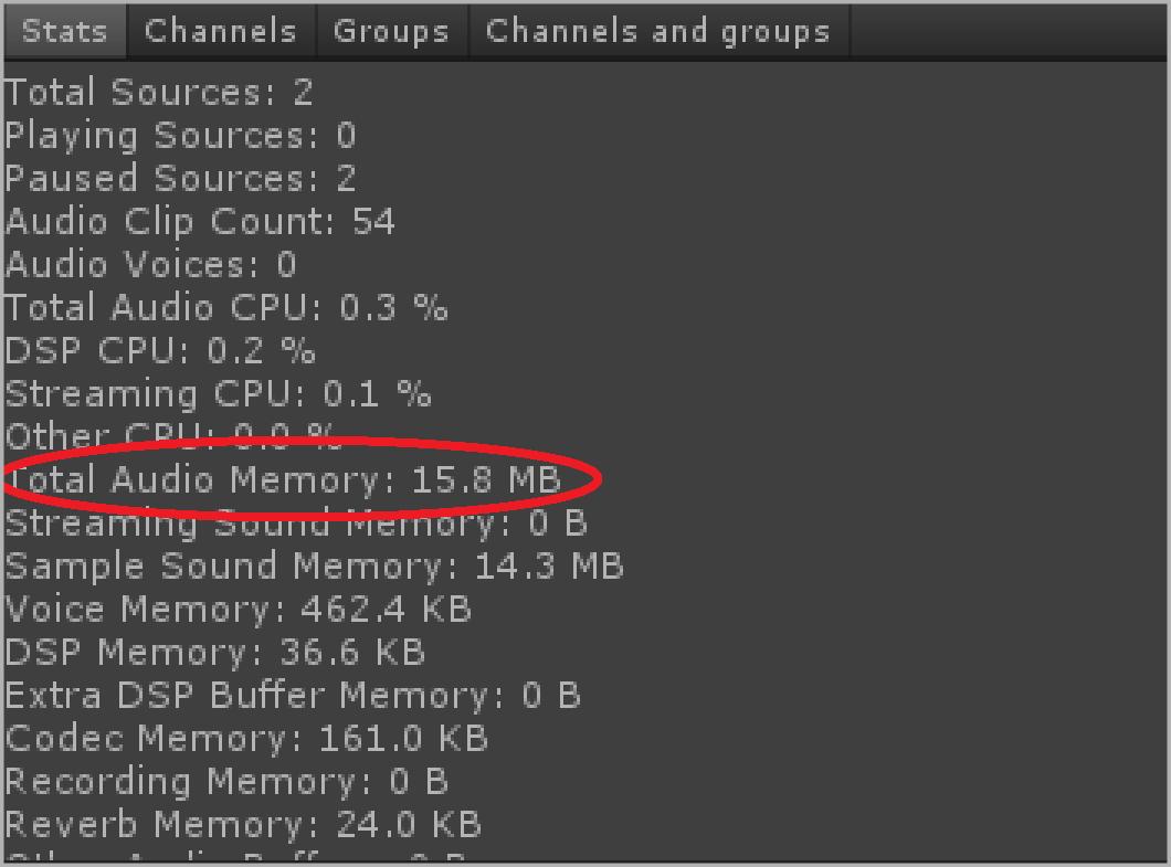 Audio Memory Used 15.8