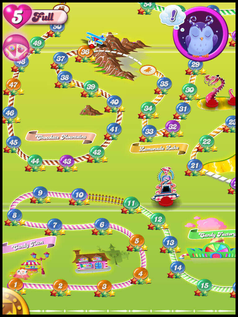 candy crush levels map