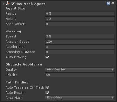 NavMesh agent component